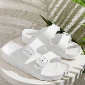 White Buckle Strap Open Toe Slides